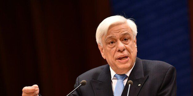 STRASBOURG, FRANCE - APRIL 26: Greek President Prokopios Pavlopoulos delivers his speech at the Parliamentary...