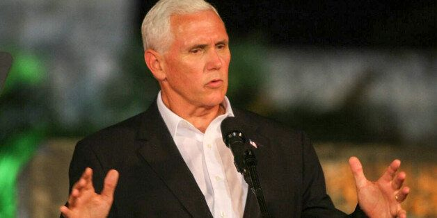 US Vice President Mike Pence speaks during a joint press conference with Colombian President Juan Manuel...