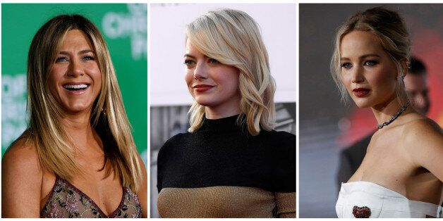 A combination photo shows (L-R) actors Jennifer Aniston, Emma Stone and Jennifer Lawrence in Los Angeles,...