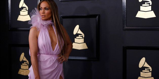 Singer Jennifer Lopez arrives at the 59th Annual Grammy Awards in Los Angeles, California, U.S. , February...