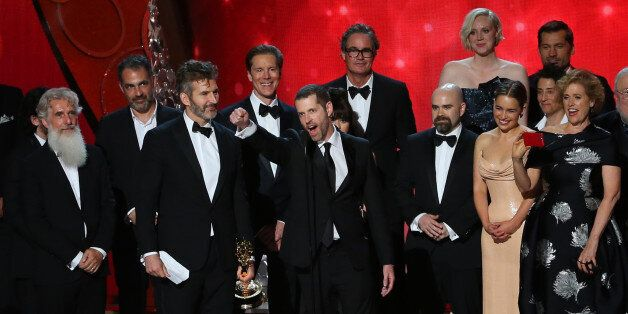 Executive Producers David Benioff, center left, and D.B. Weiss accept the award for Oustanding Drama...