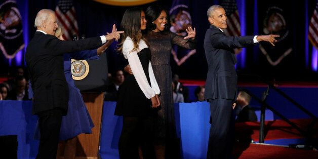 U.S. President Barack Obama, his wife Michelle, their daughter Malia, Vice-President Joe Biden and his...