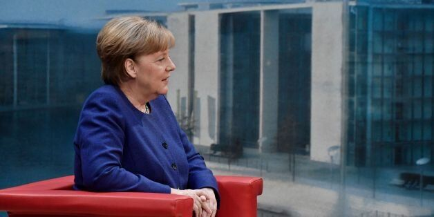 German Chancellor Angela Merkel sits before the recording of the traditional summer interview with public...