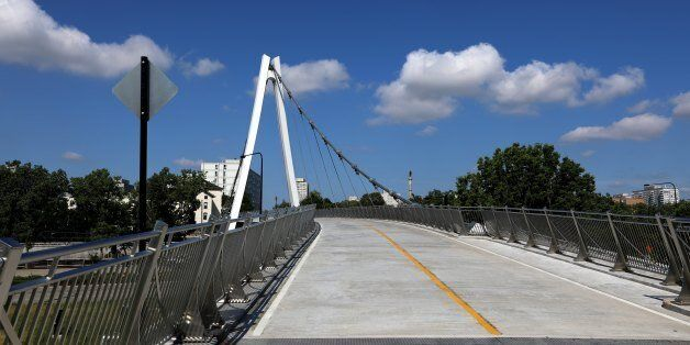CHICAGO - JULY 15: The new 35th Street pedestrian and bicycle bridge soars over Lake Shore Drive at 35th...