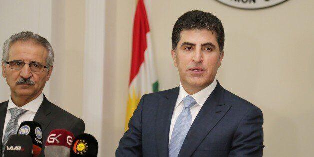 ERBIL, IRAQ - AUGUST 8: Kurdish Regional Government (KRG) Prime Minister Nechirvan Barzani (R) and Mela...