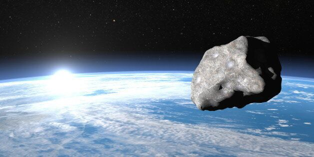 Meteor upon earth, sunrise time, elements of this image furnished by NASA - 3D