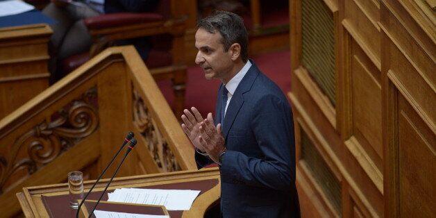 HELLENIC PARLIAMENT, ATHENS, ATTIKI, GREECE - 2017/08/01: Kyriakos Mitsotakis leader of the main opposition...