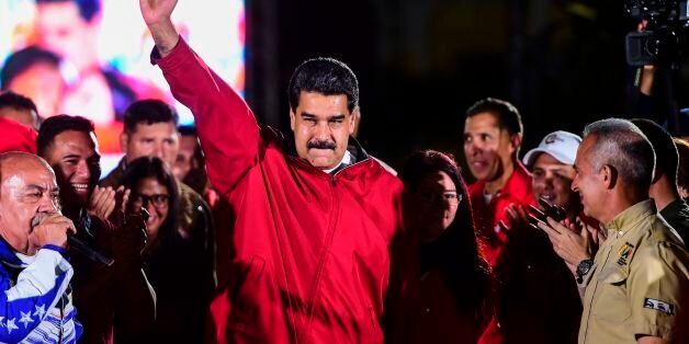 TOPSHOT - Venezuelan president Nicolas Maduro celebrates the results of 'Constituent Assembly', in Caracas,...