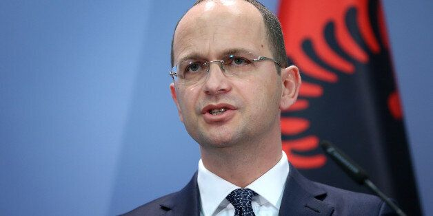 Tirana , Albania - April 17: Ditmir Bushati, Foreign Minister of Albania, adresses the press on April...