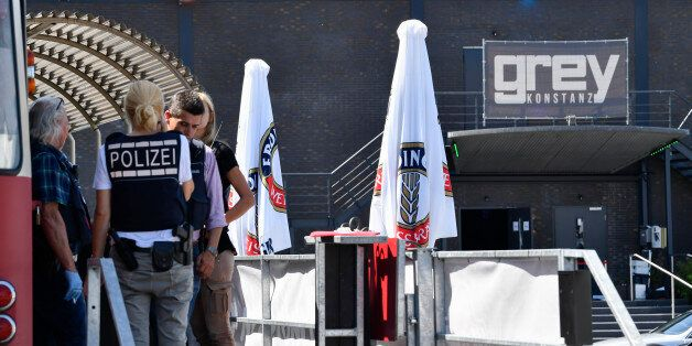 Policemen secure evidences at the Grey nightclub in Konstanz (Constance), southern Germany, where a gunman...