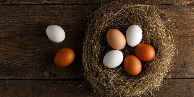 Fresh chicken eggs in a nest on a wooden rustic background