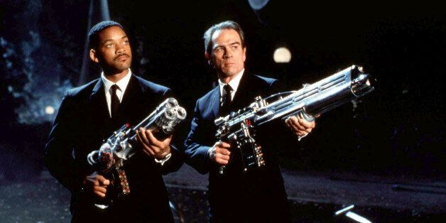 UNDATED PUBLICITY PHOTOGRAPH - Actors Will Smith (L) and Tommy Lee Jones, stars of the new science fiction...