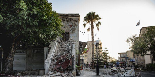 KOS, GREECE - JULY 22: A damaged structure is seen after the 6.6-magnitude richter scale earthquake hit...