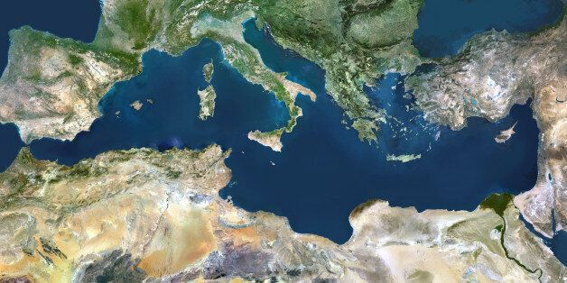 Mediterranean Sea. True colour satellite images showing the Mediterranean Sea. Points of interest include...