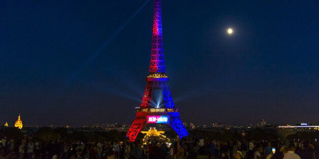 PARIS, FRANCE - AUGUST 05: A view of the Eiffel Tower illuminated in the colors of Paris Saint-Germain...