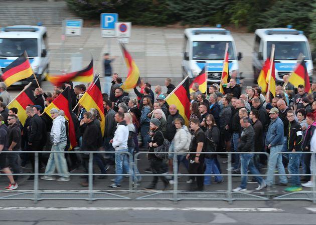 Manifestación de una plataforma de ultraderecha en Chemnitz, en septiembre del pasado
