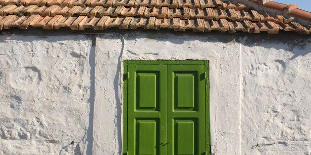 Europe, Greece, Rhodes Island, View Of Shuttered Window On Traditional Greek Village