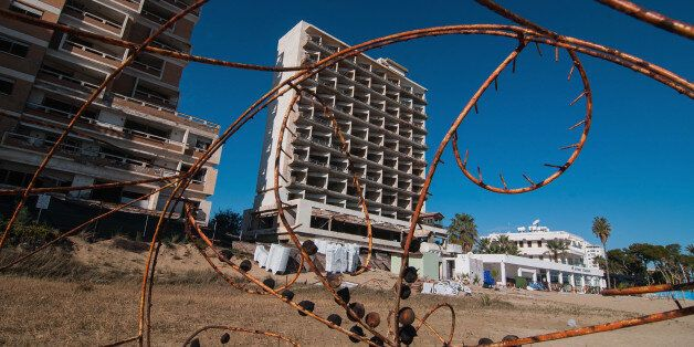 FAMAGUSTA, CYPRUS - JANUARY 05: An abandoned hotel is seen in the Varosha quarter of the beach on January...