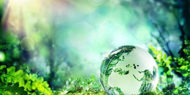 Europe - crystal globe resting on moss in a