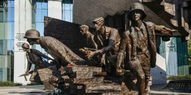 Poland, Warsaw, Monument to the Warsaw Uprising, another section of the monument showing a group of Polish...