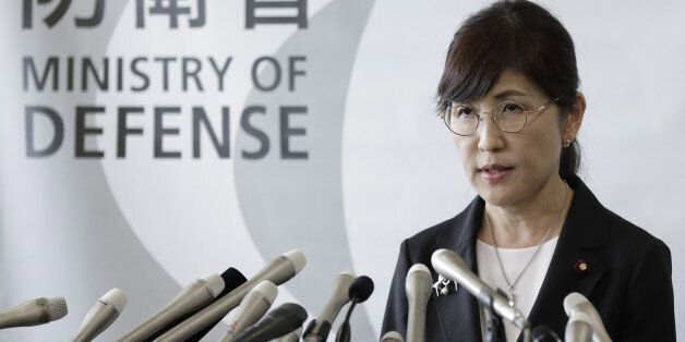 Tomomi Inada, Japan's defense minister, speaks during a news conference at the Ministry of Defense in...