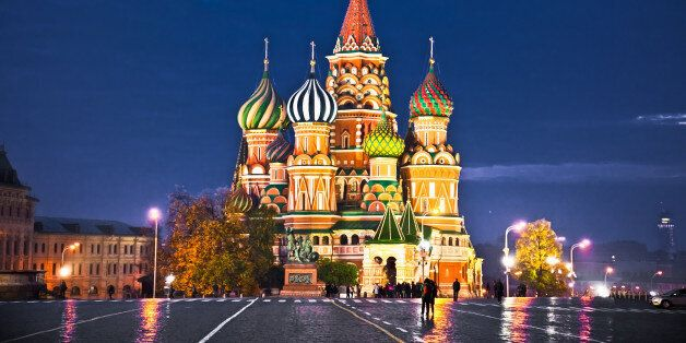 Night view of Red Square and Saint Basil and Cathedral in Moscow.,