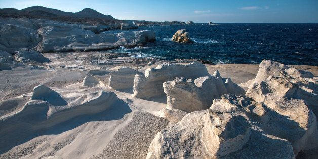 Mineral formations on the coast of Milos island (Moon landscape) Aegean sea,