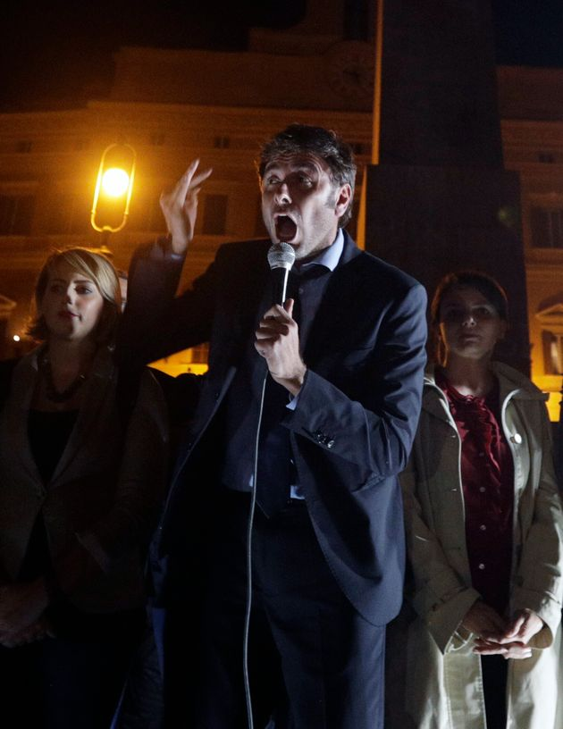 5-Star Movement's Alessandro Di Battista speaks outside the lower chamber of Parliament moments after...