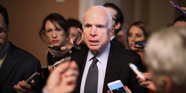 WASHINGTON, DC - JULY 13: Sen. John McCain (R-AZ) leaves a meeting where a new version of a GOP healthcare...