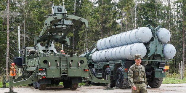 MOSCOW REGION, RUSSIA - MAY 17, 2017: An S-400 Triumf surface-to-air missile system takes part in military...