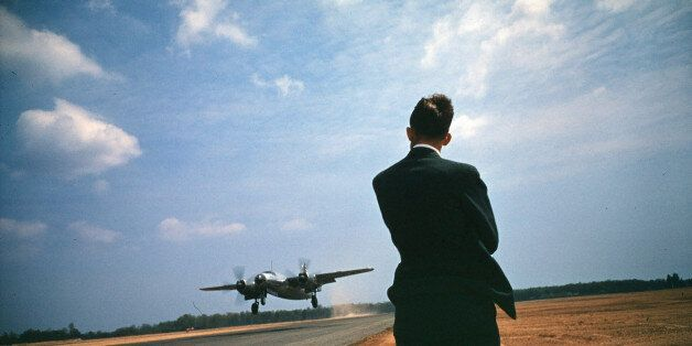 BALTIMORE,MD - CIRCA 1945: A view as a Martin B-26 Marauder takes off at the Glenn Martin Company in...