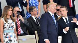 Μια στρατιωτική μπάντα έπαιξε το «Get Lucky» προς τιμήν των Macron και Trump, αλλά ο δεύτερος δεν πήρε