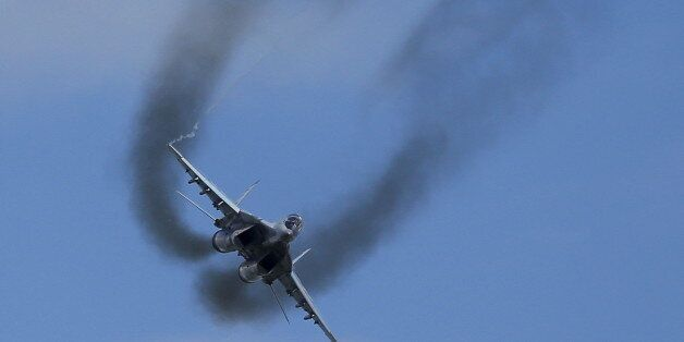A MIG-29 fighter performs during