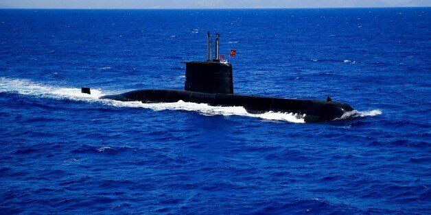MUGLA, TURKEY - MAY 23: A Turkish submarine is seen during the second part of distinguished observers...