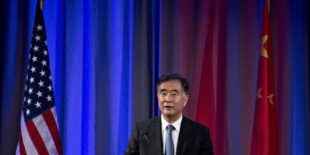 Wang Yang, China's vice premier, speaks during a reception ahead of the U.S.-China Comprehensive Economic...
