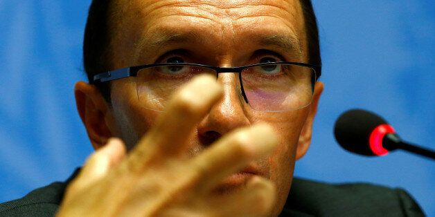 United Nations Special Advisor on Cyprus Espen Barth Eide attends a news conference one day before peace...
