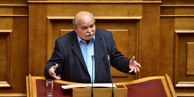HELLENIC PARLIAMENT, ATHENS, ATTIKI, GREECE - 2017/07/11: Nikos Voutsis President of Hellenic Parliament,...