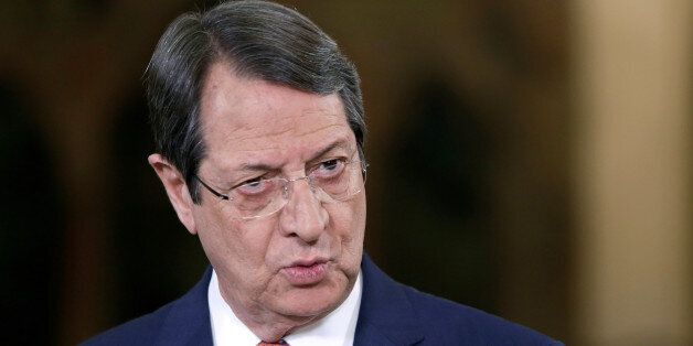 Cypriot President Nicos Anastasiades talks during a nationally televised news conference at the Presidential...