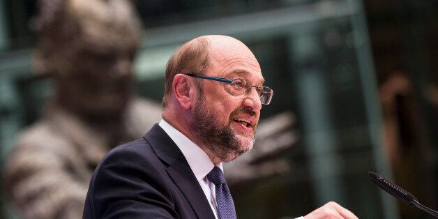 Chancellor Candidate and Chairman of the Social Democratic Party (SPD) Martin Schulz speaks during the...