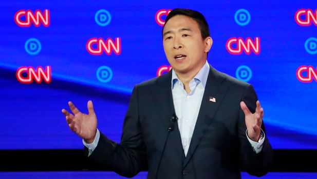 Entrepreneur Andrew Yang speaks on the second night of the second 2020 Democratic U.S. presidential debate in Detroit, Michigan, July 31, 2019. REUTERS/Lucas Jackson