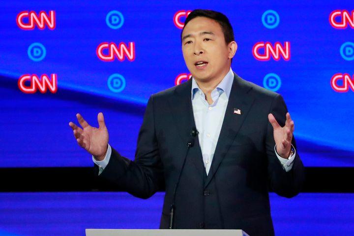 Entrepreneur Andrew Yang speaks on the second night of the second 2020 Democratic U.S. presidential debate in Detroit on July
