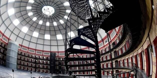 This photo taken on June 9, 2017 shows the inside of Boschpoort Prison, a dome-shaped prison in Breda,...
