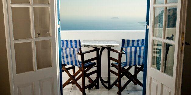 Balcony view in Santorini,