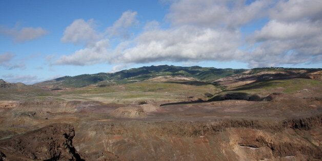Prosperous Bay Plain proposed site of airport on St Helena Island with Central Peaks in distant
