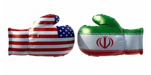 Boxing gloves with Usa and Iran flag, isolated 3d
