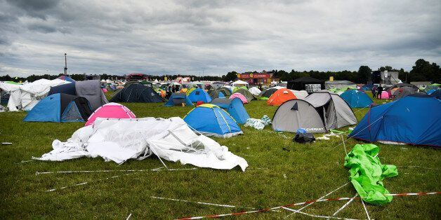The camping site of the Bravalla festival is pictured on its last day, in Norrkoping, Sweden July 1,...
