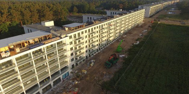 BINZ, GERMANY - JUNE 15: In this aerial view blocks of the Prora building complex stretch along the beach...