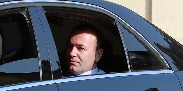 Manfred Weber, chairperson of the European People's Party (EPP) group at the European parliament, arrives...