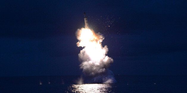 A test-fire of strategic submarine-launched ballistic missile is seen in this undated photo released...
