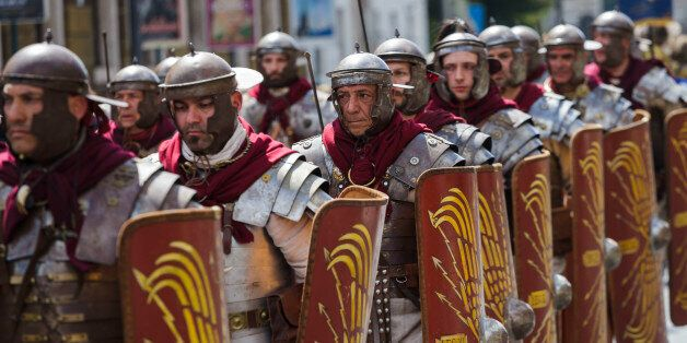 ROME, ITALY - 2017/04/23: Members of the Roman Historical Group parade in the areas of Colosseum, Circus...